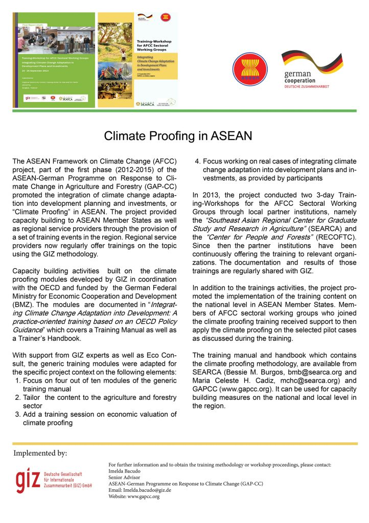 Flyer: Climate Proofing in ASEAN